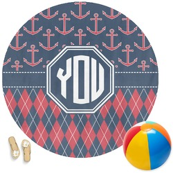 Anchors & Argyle Round Beach Towel (Personalized)