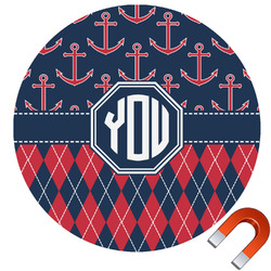 Anchors & Argyle Round Car Magnet (Personalized)