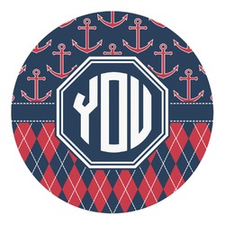 Anchors & Argyle Round Decal (Personalized)
