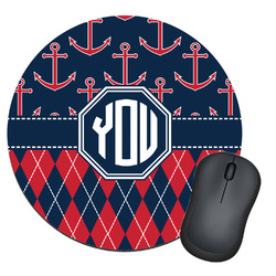 Anchors & Argyle Round Mouse Pad (Personalized)