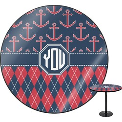 "Anchors & Argyle Round Table - 30"" (Personalized)"