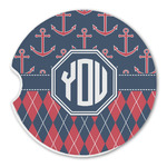 Anchors & Argyle Sandstone Car Coasters (Personalized)