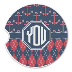 Anchors & Argyle Sandstone Car Coasters (Personalized)