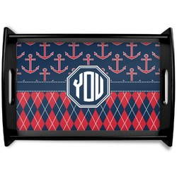 Anchors & Argyle Black Wooden Tray - Small (Personalized)