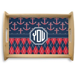 Anchors & Argyle Natural Wooden Tray (Personalized)