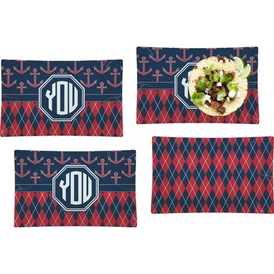 Anchors & Argyle Set of 4 Glass Rectangular Lunch / Dinner Plate (Personalized)