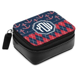 Anchors & Argyle Small Leatherette Travel Pill Case (Personalized)