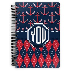 Anchors & Argyle Spiral Bound Notebook (Personalized)