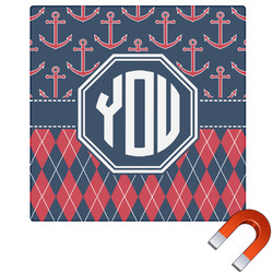 Anchors & Argyle Square Car Magnet (Personalized)