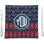 """Anchors & Argyle Glass Square Lunch / Dinner Plate 9.5"""" - Single or Set of 4 (Personalized)"""