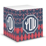 Anchors & Argyle Sticky Note Cube (Personalized)