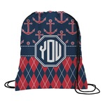 Anchors & Argyle Drawstring Backpack (Personalized)