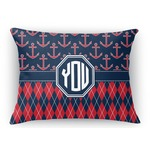 Anchors & Argyle Rectangular Throw Pillow Case (Personalized)
