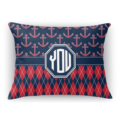 Anchors & Argyle Rectangular Throw Pillow Case (Personalized)