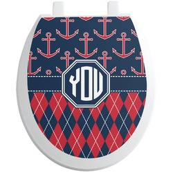 Anchors & Argyle Toilet Seat Decal (Personalized)