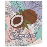 Coconut and Leaves Sherpa Throw Blanket (Personalized)
