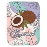 Coconut and Leaves Baby Swaddling Blanket w/ Name or Text