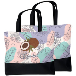 Coconut and Leaves Beach Tote Bag (Personalized)