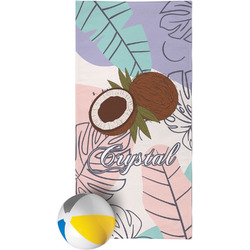Coconut and Leaves Beach Towel w/ Name or Text