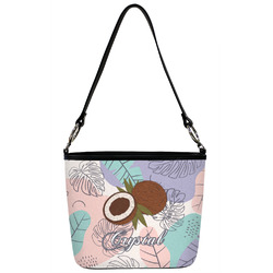 Coconut and Leaves Bucket Bag w/ Genuine Leather Trim (Personalized)