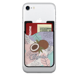 Coconut and Leaves 2-in-1 Cell Phone Credit Card Holder & Screen Cleaner w/ Name or Text