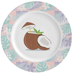 Coconut and Leaves Ceramic Dinner Plates (Set of 4) (Personalized)