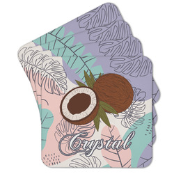 Coconut and Leaves Cork Coaster - Set of 4 w/ Name or Text