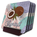 Coconut and Leaves Coaster Set w/ Stand w/ Name or Text