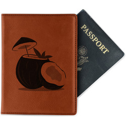 Coconut and Leaves Leatherette Passport Holder (Personalized)