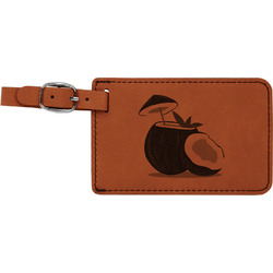 Coconut and Leaves Leatherette Luggage Tag (Personalized)