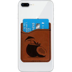 Coconut and Leaves Leatherette Phone Wallet (Personalized)