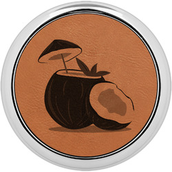 Coconut and Leaves Leatherette Round Coaster w/ Silver Edge - Single or Set (Personalized)