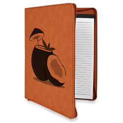 Coconut and Leaves Leatherette Zipper Portfolio with Notepad (Personalized)