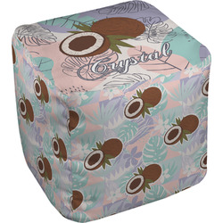 Coconut and Leaves Cube Pouf Ottoman (Personalized)