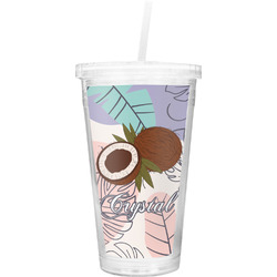 Coconut and Leaves Double Wall Tumbler with Straw (Personalized)
