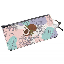 Coconut and Leaves Genuine Leather Eyeglass Case w/ Name or Text