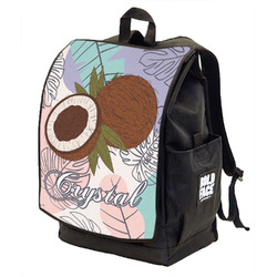 Coconut and Leaves Backpack w/ Front Flap w/ Name or Text