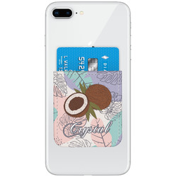 Coconut and Leaves Genuine Leather Adhesive Phone Wallet w/ Name or Text
