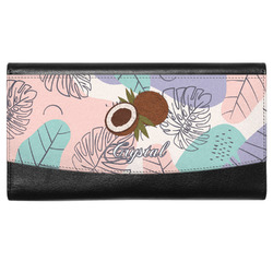 Coconut and Leaves Genuine Leather Ladies Wallet w/ Name or Text