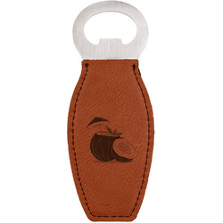Coconut and Leaves Leatherette Bottle Opener (Personalized)