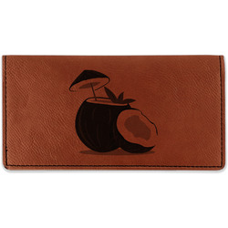 Coconut and Leaves Leatherette Checkbook Holder (Personalized)