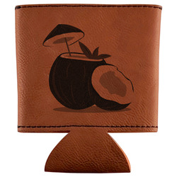 Coconut and Leaves Leatherette Can Sleeve (Personalized)
