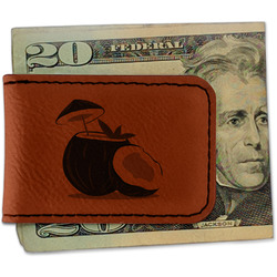 Coconut and Leaves Leatherette Magnetic Money Clip (Personalized)