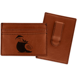 Coconut and Leaves Leatherette Wallet with Money Clip (Personalized)