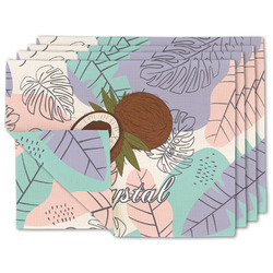 Coconut and Leaves Linen Placemat w/ Name or Text