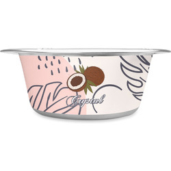 Coconut and Leaves Stainless Steel Dog Bowl (Personalized)