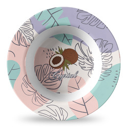 Coconut and Leaves Plastic Bowl - Microwave Safe - Composite Polymer (Personalized)