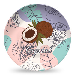 Coconut and Leaves Microwave Safe Plastic Plate - Composite Polymer (Personalized)