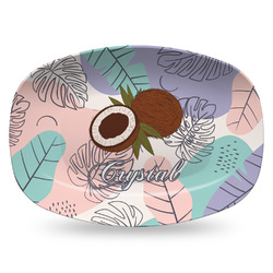 Coconut and Leaves Plastic Platter - Microwave & Oven Safe Composite Polymer (Personalized)