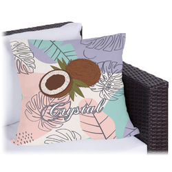 Coconut and Leaves Outdoor Pillow (Personalized)